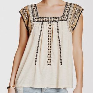 • LUCKY BRAND • cream boho embroidered top